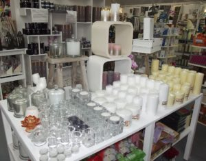candle display in shop