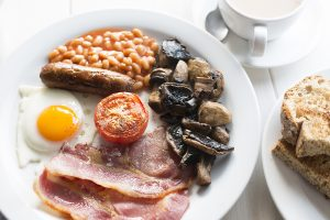 cooked breakfast close up - January at Trevena Cross