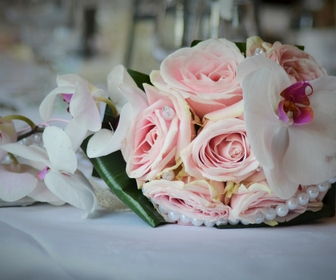 posy of pink wedding flowers