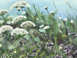 Rachel painting Clifftop Flora
