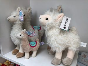 Llamas cuddly toys at Trevena Cross
