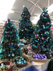 purple themed Christmas trees