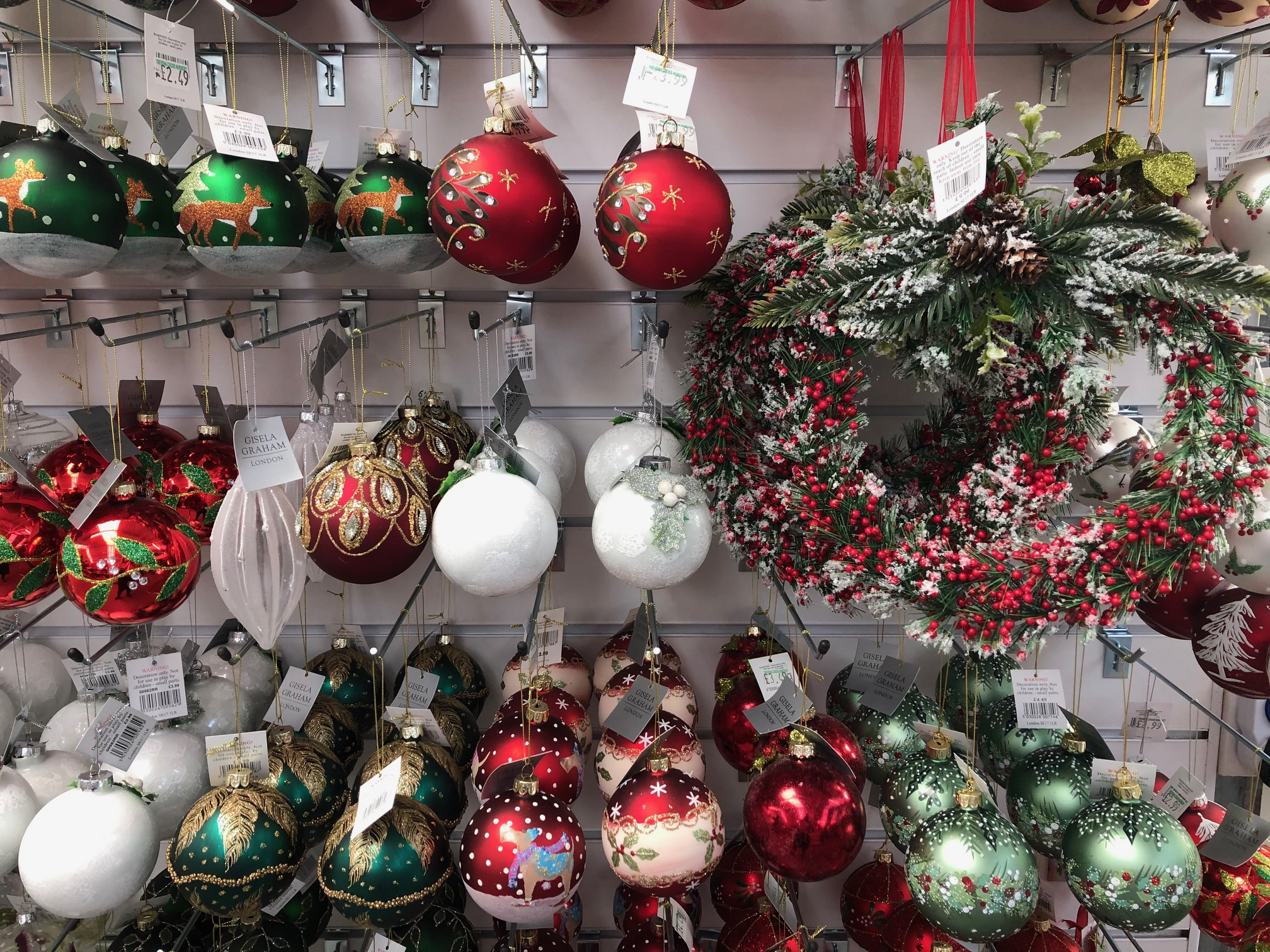 bauble display in Trevena Cross Christmas shop