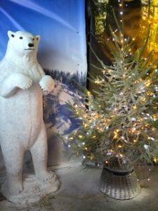 polar bear and Christmas tree in grotto - Trevena Cross