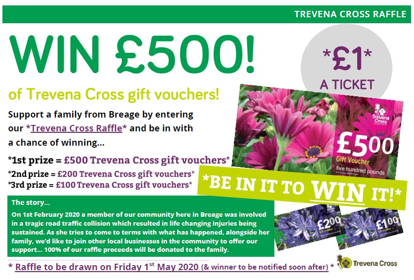 Trevena Cross Raffle - Win £500 in Trevena Cross gift vouchers