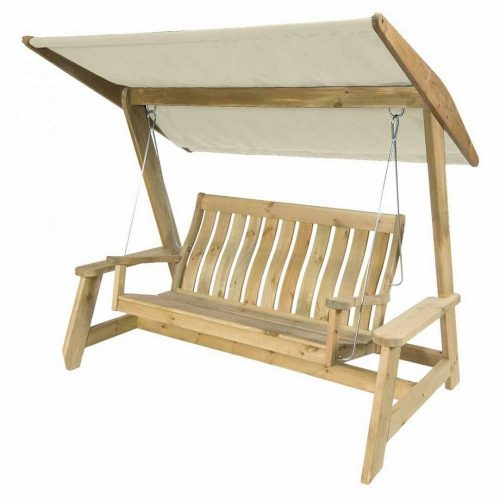 Pine Farmers Swing Seat with ecru canopy