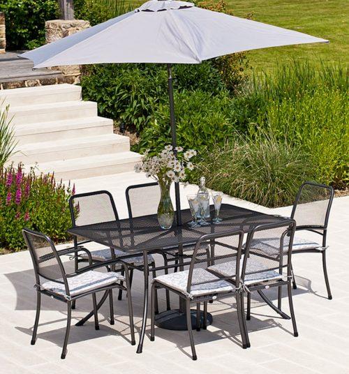 Portofino 1.45 Rectangular Table Set with Six Armchairs